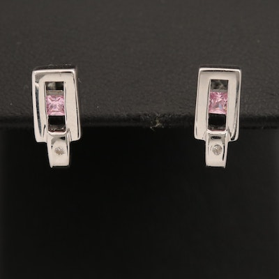 Sterling Cubic Zirconia and Diamond Stud Earrings