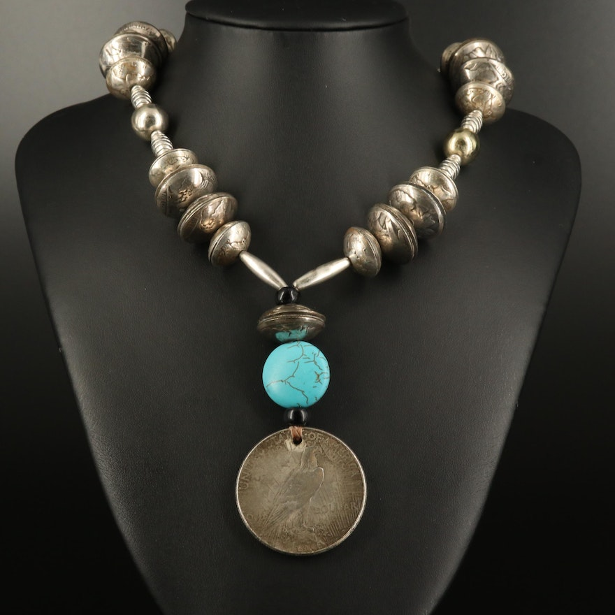 Reproduced Peace Dollar and Buffalo Nickel Beaded Necklace with Howlite Accent