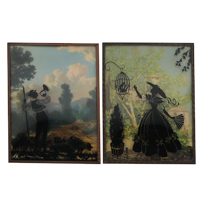 Silhouette Scenes with Offset Lithograph Landscapes, Mid-20th Century