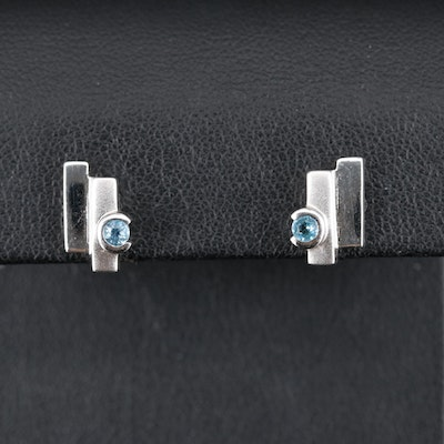 Sterling Topaz Geometric Stud Earrings