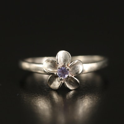 Sterling Flower Ring with Tanzanite
