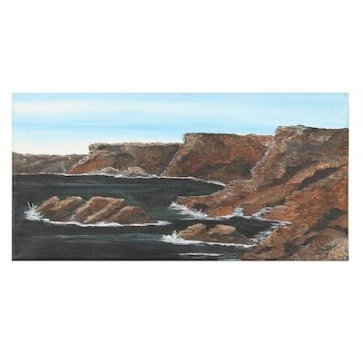 Jim Vander Wiel Acrylic Painting of Rocky Coastline, 2019