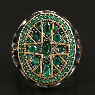 Sterling Cross and Scroll Ring with Glass