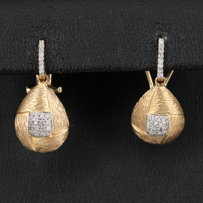 14K Diamond Textured Earrings
