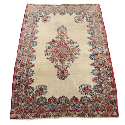 3'1 x 4'7 Hand-Knotted Persian Kerman Accent Rug, 1930s