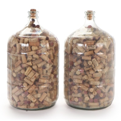 Pair of Three Gallon Glass Bottles with Wine Corks