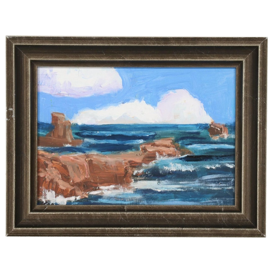 Kenneth R. Burnside Seascape Oil Painting