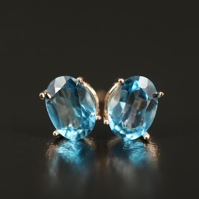 14K Oval Topaz Stud Earrings