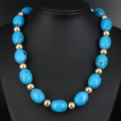 14K Magnesite Bead Necklace