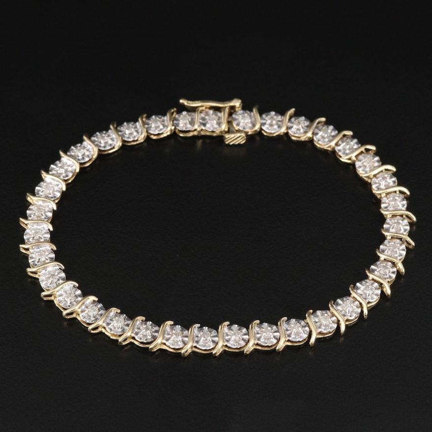 10K 1.30 CTW Diamond Link Bracelet