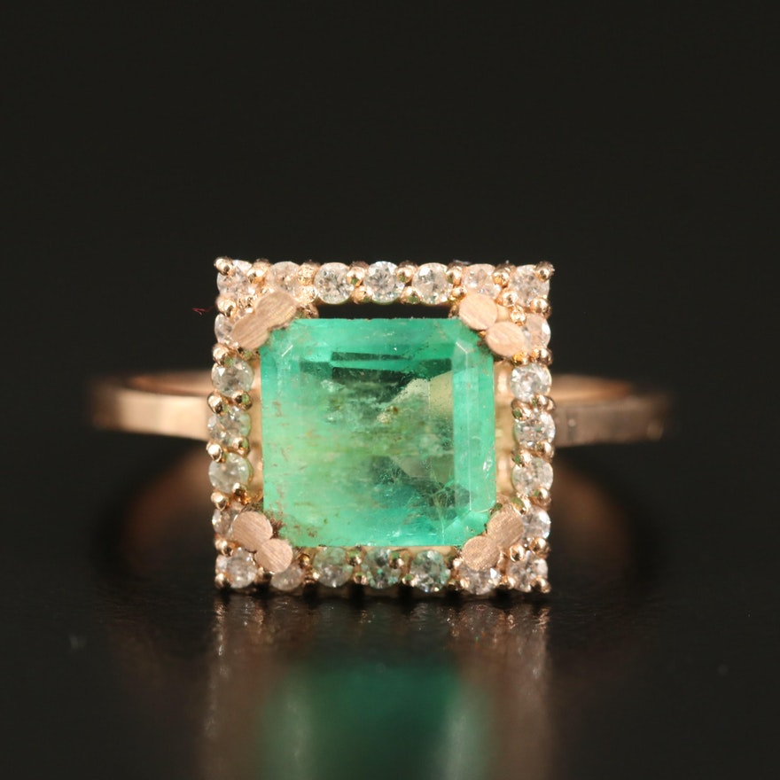 14K 1.60 CT Emerald and Diamond Square Halo Ring