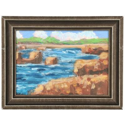 Kenneth R. Burnside Coastal Landscape Oil Painting