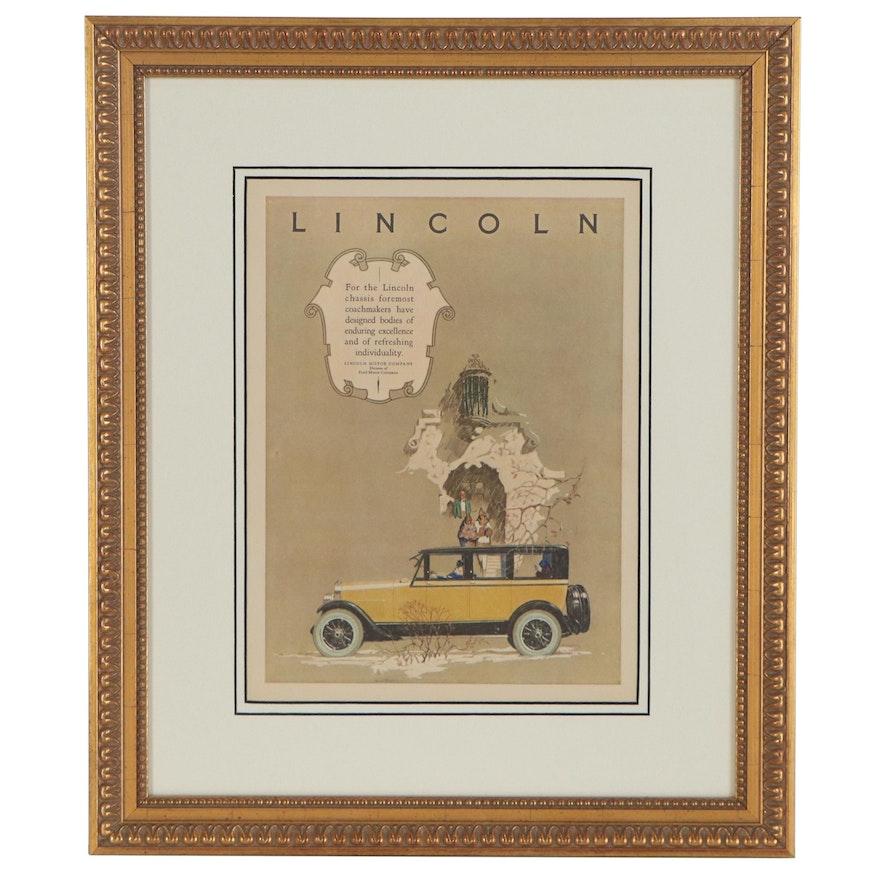 Lincoln Motor Company Offset Lithograph Advertisement, circa 1924