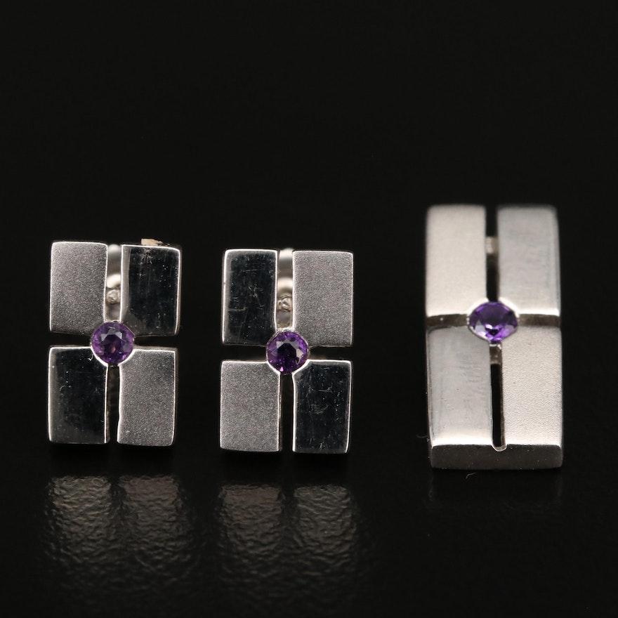 Sterling Amethyst Grid Pendant and Stud Earring Set