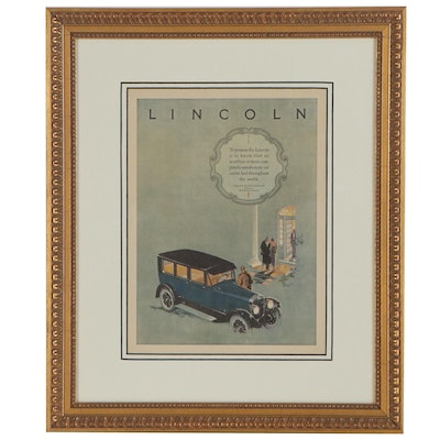 Offset Lithograph Advertisement for Lincoln Automobiles
