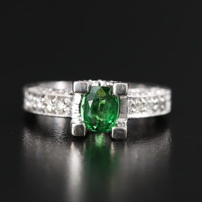 14K Tsavorite Garnet and Diamond Ring