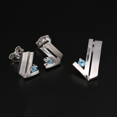 Sterling Topaz Pendant and Earring Set