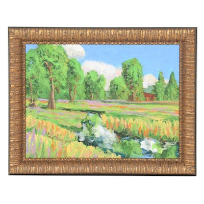 Kenneth R. Burnside Oil Painting of Rural Stream with Wildflowers, 21st Century