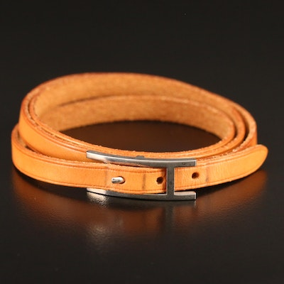 "Hermès ""Be Hapi"" Triple Leather Wrap Bracelet"