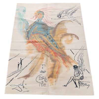 "5'11 x 9'1 Machine Made Ege Art Line Rug after Salvador Dalí ""Le Grand Pavon"""
