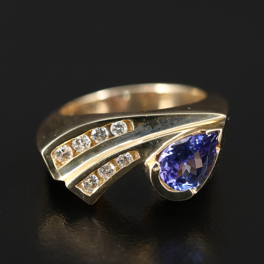 14K Tanzanite and Diamond Asymmetrical Ring