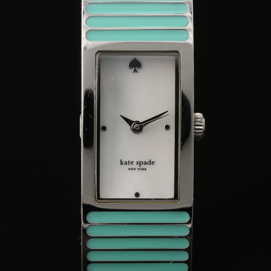 "Kate Spade ""Carousel"" Enamel and Silver Tone Quartz Wristwatch"