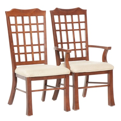 Klaussner Contemporary Lattice Back Wood Chairs