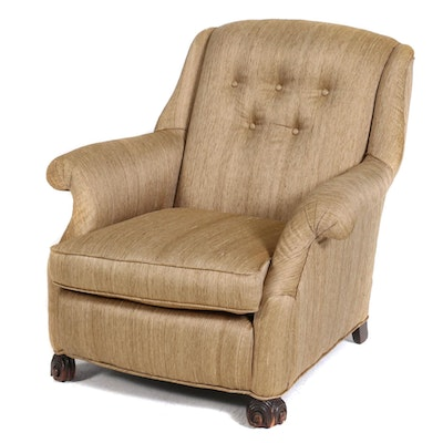 Vintage Mahogany Armchair with Silk Blend Upholstery, Mid 20th Century