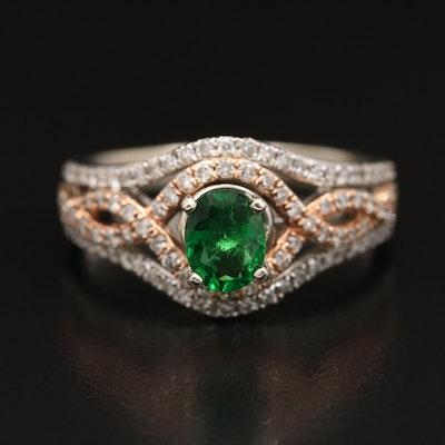 14K Two-Tone Tsavorite Garnet and Diamond Crossover Ring