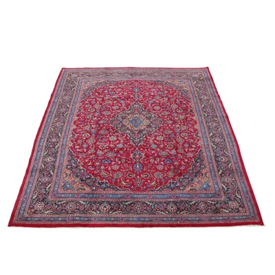 9'8 x 12'8 Hand-Knotted Persian Mashhad Room Sized Rug, 1970s