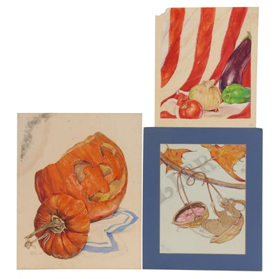 Teresa Harper Embellished Watercolor Paintings, Late 20th Century