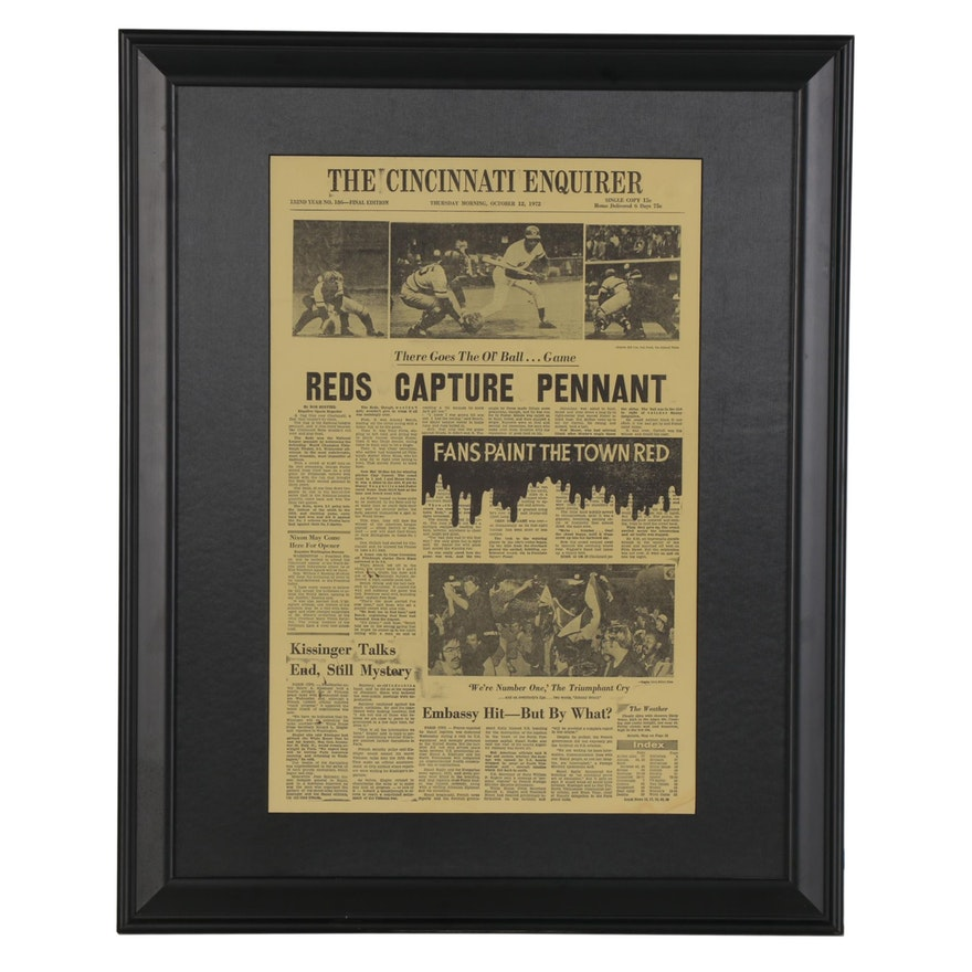"1972 Cincinnati Enquirer ""Reds Clinching Pennant"" Framed Headlines"