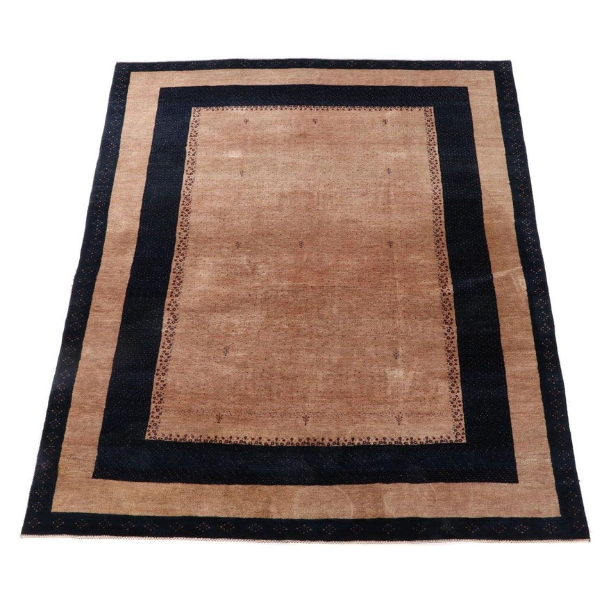 7'1 x 9'9 Hand-Knotted Persian Gabbeh Wool Area Rug