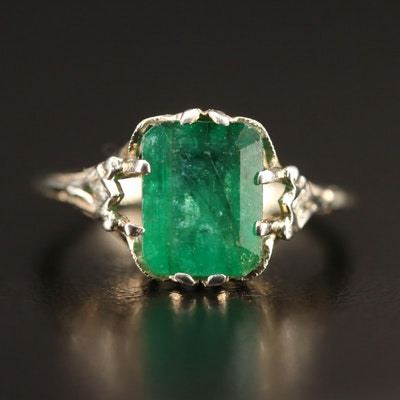 Vintage 18K 2.30 CT Emerald and Diamond Openwork Ring