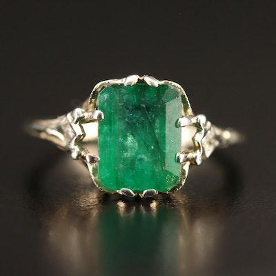 Vintage 18K 2.30 CT Emerald and Diamond Openwork Ring