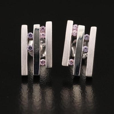 Sterling Cubic Zirconia Geometric Stud Earrings