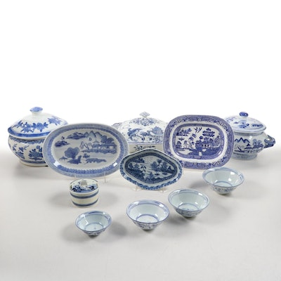 "Hales Hancock and Goodwin ""Orient"" Tureen with Other Blue and White China"