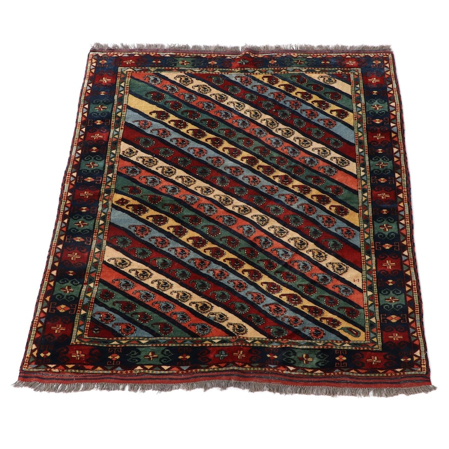 6'1 x 7'4 Hand-Knotted Persian Kazak Tribal Wool Area Rug
