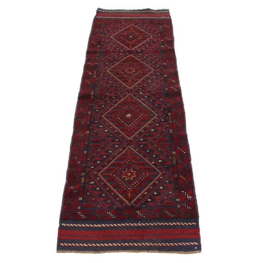 2'2 x 7'0 Handmade Mixed Technique Afghan Baluch Carpet Runner, 2000s