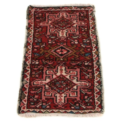 1'7 x 2'7 Hand-Knotted Persian Karaja Accent Rug, 1920s