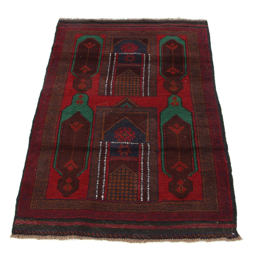 3'0 x 4'7 Hand-Knotted Afghan Baluch Accent Rug, 2000s