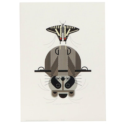"Charley Harper Lithograph ""Raccrobat,"" 1978"