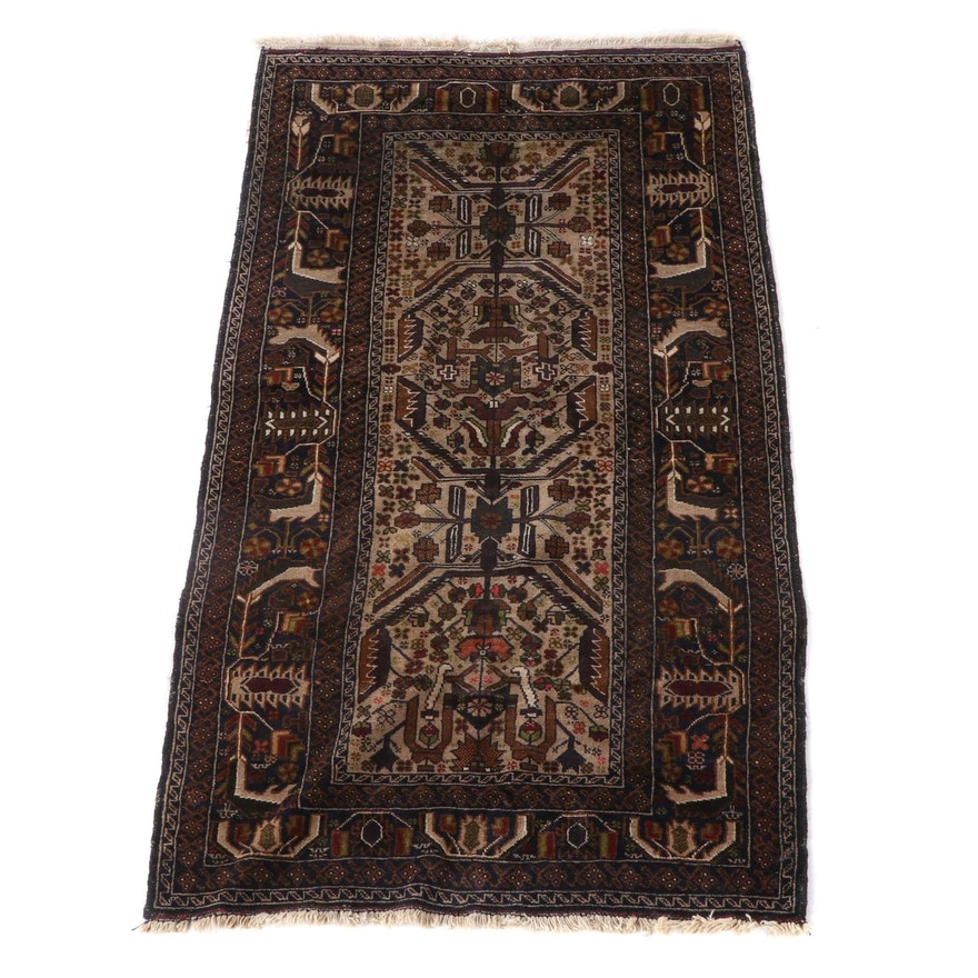 3'9 x 7'1 Hand-Knotted Afghan Baluch Wool Area Rug