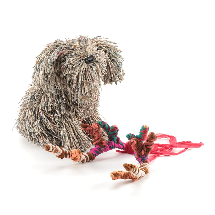 Twisted Recycled Newspaper Dog Sculpture with Yarn Antlers