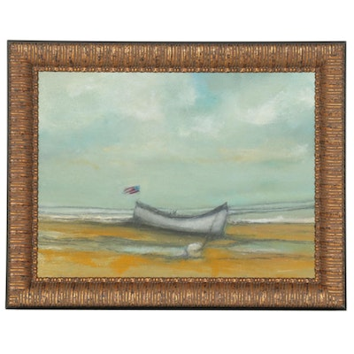 """Brian J. Hannon Oil Painting """"Boat Low Tide, Scituate, MA,"""" 2020"""