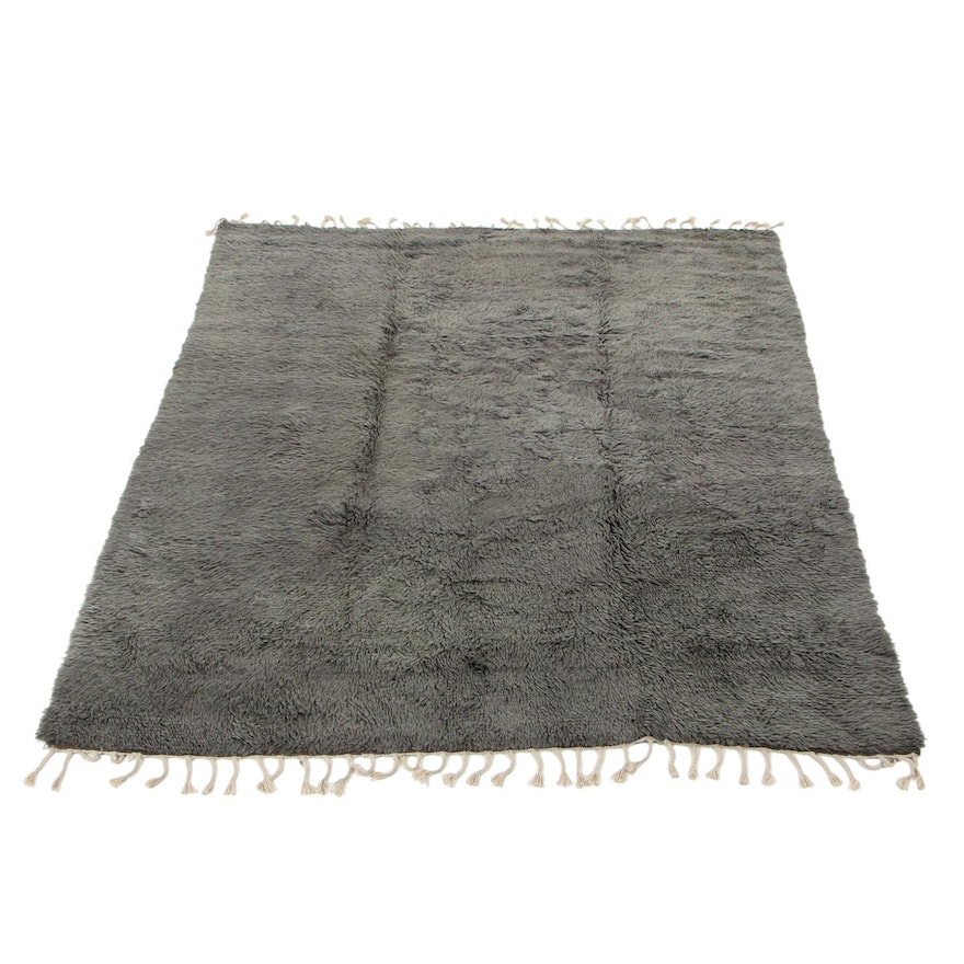 8'4 x 10'10 Hand-Knotted Indo-Moroccan Room Size Gray Rug, 2010s