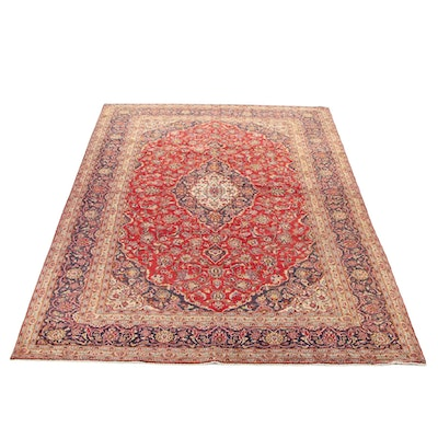 9'7 x 13'8 Hand-Knotted Persian Kashan Room Sized Rug, 1970s