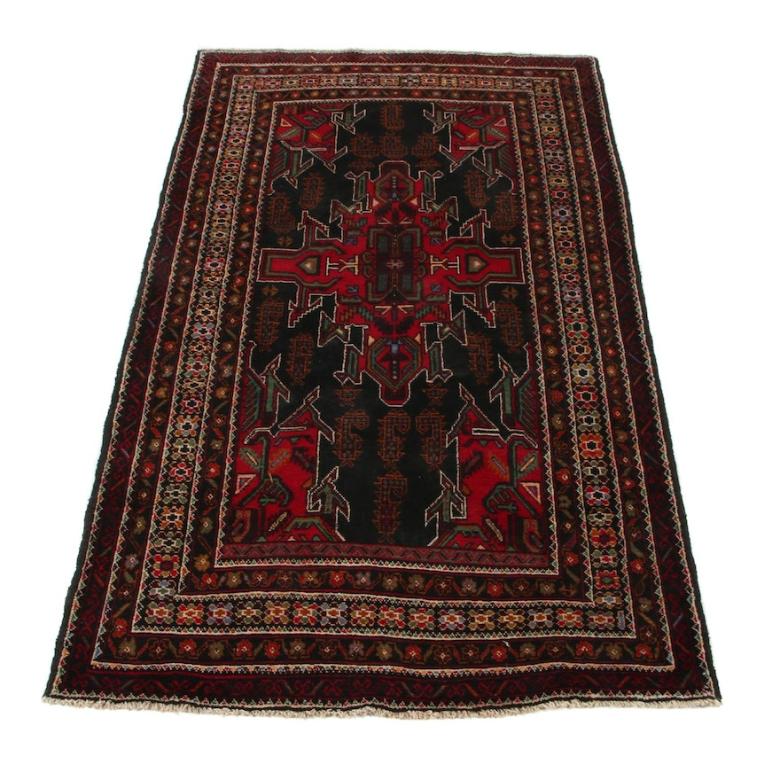 3'10 x 6'6 Hand-Knotted Persian Baluch Area Rug, 2000s