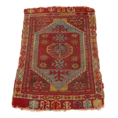 1'8 x 2'6 Hand-Knotted Central Anatolian Turkish Yastik Accent Rug, 1890s