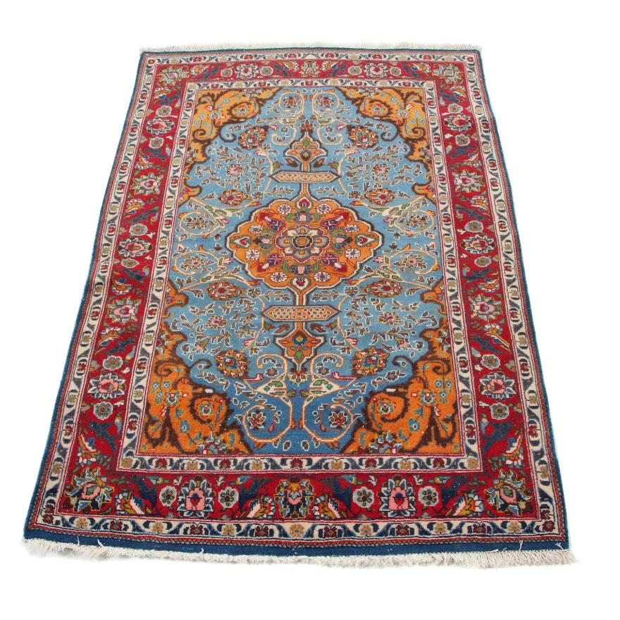 3'5 x 5'5 Hand-Knotted Persian Tabriz Area Rug, 1970s